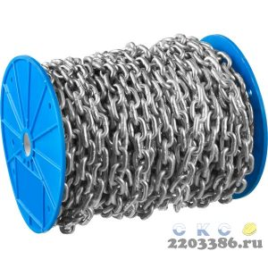 Цепь короткозвенная, DIN 766, оцинкованная сталь, d=6мм, L=30м, ЗУБР Профессионал