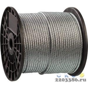 Трос стальной, оцинкованный, DIN 3055, d=6 мм, L=120 м, ЗУБР Профессионал