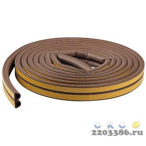 """Уплотнитель ЗУБР резиновый самоклеящийся профиль """"D"""", коричневый, 6м"""