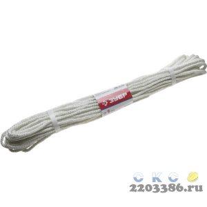 Фал ЗУБР капроновый, d=6,0 мм, 20 м, 650 кгс, 20,5 ктекс