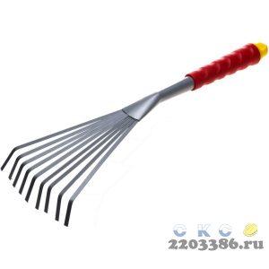 Грабельки GRINDA веерные с плоскими зубцами, из углеродистой стали с коннекторной системой, 420 мм