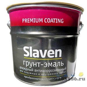 Грунт-эмаль 3в1 Slaven быстросохнущий антикоррозионный ХВОЙНАЯ ЗЕЛЕНЬ 1,1 кг, 14шт/уп