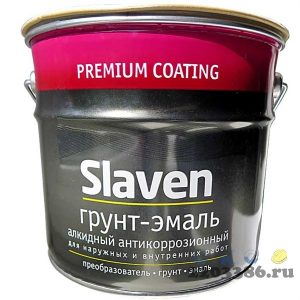 Грунт-эмаль 3в1 Slaven быстросохнущий антикоррозионный ЗОЛОТИСТО-ЖЕЛТЫЙ 1,1 кг, 14шт/уп