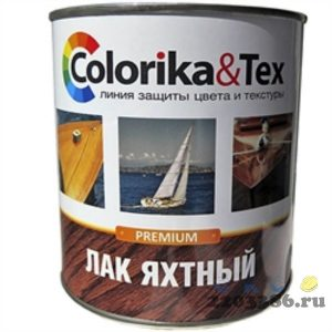 Лак яхтный 0,8 л полуматовый Colorika&Tex, 6шт/уп