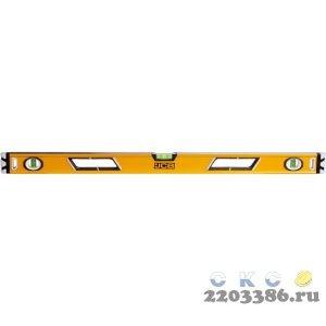 Уровень JCB коробчатый, магнитный, 2 фрезерованные базовые поверхности, 3 ампулы, крашенный, с ручками, 0,5мм/м, 90см