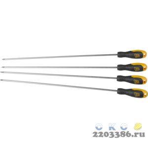 Набор JCB: Отвертки, хромомолибденовая сталь S2, двухкомпонентные рукоятки, магнитный наконечник, 4 предм