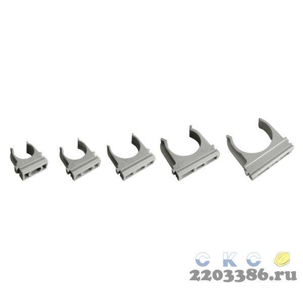 Держатель 25 мм ПВХ серый для труб 9765386