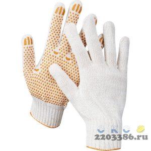 STAYER RIGID, размер L-XL, перчатки трикотажные для тяжелых работ, х/б 7 класс, с ПВХ-гель покрытием (точка).