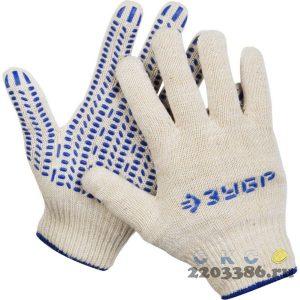 ЗУБР ТОЧКА+, размер S-M, перчатки с точками увеличенного размера, х/б 13 класс, с ПВХ-гель покрытием (точка)