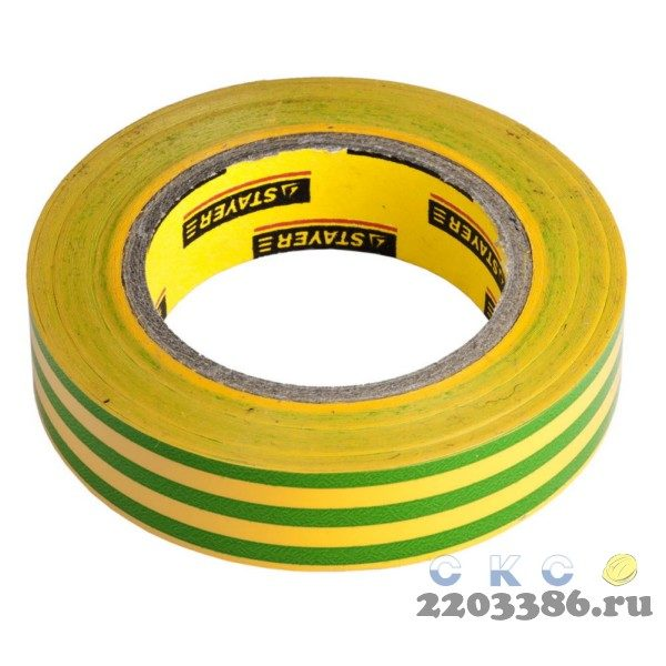 Изолента, STAYER Master 12291-S-15-10, ПВХ, 5000 В, 15мм х 10м, желто-зеленая