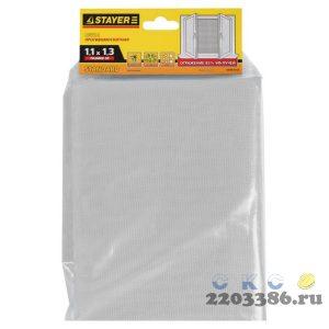 """Сетка STAYER """"STANDARD"""" противомоскитная, для окон, в индивидуальной упаковке, стекловолокно+ПВХ, белая, 1,1 х 1,3м"""