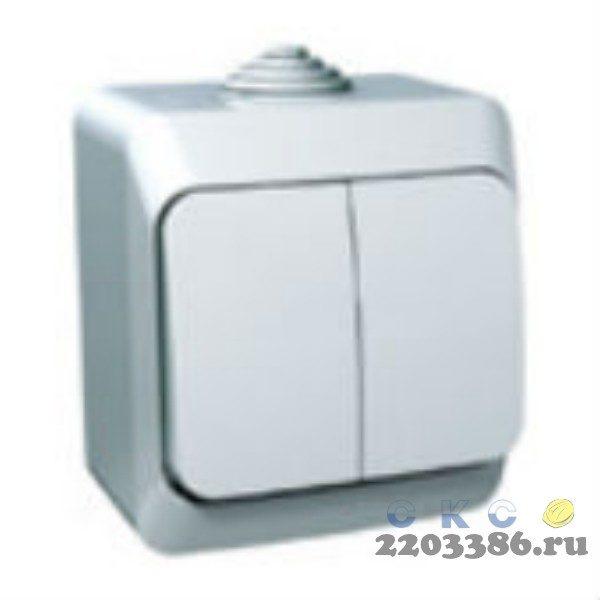ЭТЮД Выключатель двухклавишный наружный белый сх.5 (BA10-002B) 9723093