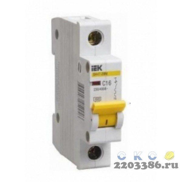 Выключатель автоматический 1п 16А С ВА47-29 4.5кА ИЭК MVA20-1-016-C