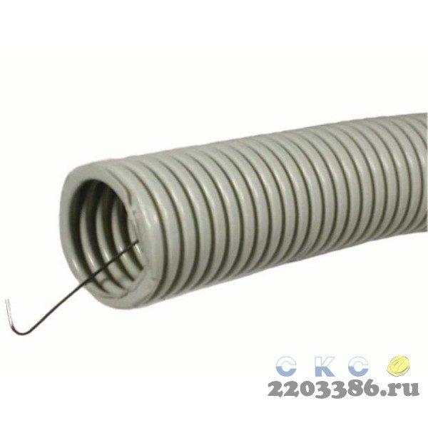 Труба ПВХ гибкая гофр. д.25мм, лёгкая с протяжкой, 50м, цвет серый 87860040