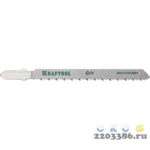 Полотна KRAFTOOL, T101BR, для эл/лобзика, Cr-V, по дереву, фанере, ламинату, обратный рез, EU-хвост., шаг 2,5мм, 75мм, 2шт
