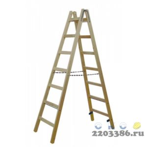 Стремянка деревянная KRAUSE  8 перекладин, двухсторонняя