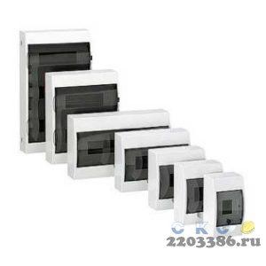 Щит распределительный навесной ЩРн-П-8 IP40 пластиковый белый прозрачная дверь (MKP12-N-08-40-20)9741580