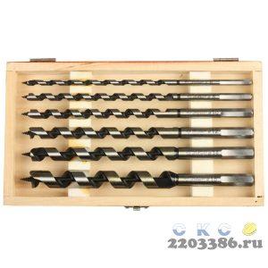 ЗУБР 6 шт, d 6-8-10-12-14-18 мм, набор сверл левиса по дереву, шестигранный хвостовик