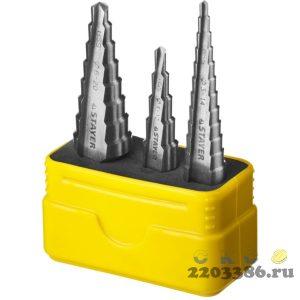STAYER 3 шт, 3-20мм, набор сверл ступенчатых, сталь HSS