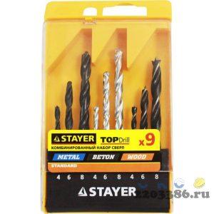 STAYER дерево (4-6-8мм), металл (4-6-8мм), бетон (4-6-8мм), сверла комбинированные