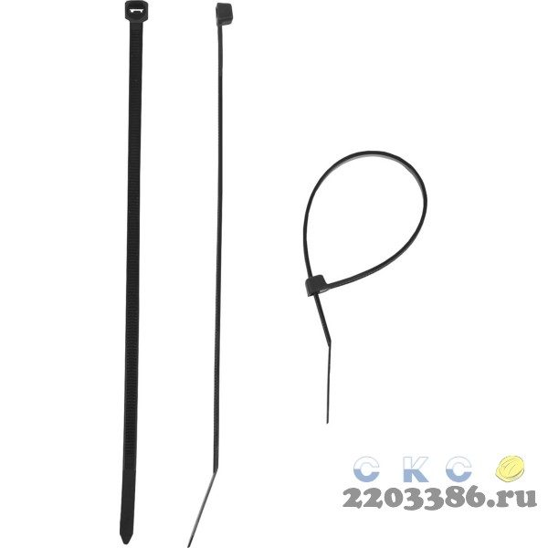 Кабельные стяжки черные КС-Ч1, 4.5 x 300 мм, 100 шт, нейлоновые, ЗУБР Профессионал
