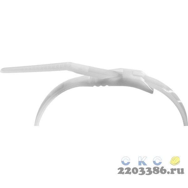 Кабельные стяжки белые КОБРА, с плоским замком, 4.6 х 205 мм, 25 шт, нейлоновые, ЗУБР Профессионал