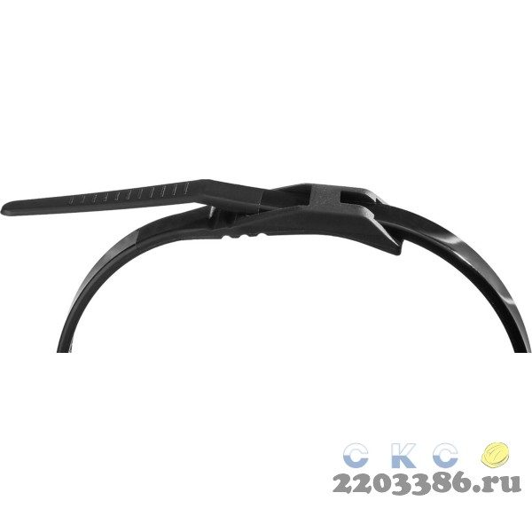 Кабельные стяжки черные КОБРА, с плоским замком, 4.6 х 370 мм, 25 шт, нейлоновые, ЗУБР Профессионал