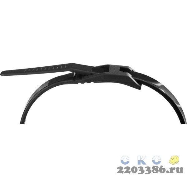 Кабельные стяжки черные КОБРА, с плоским замком, 7.6 х 370 мм, 10 шт, нейлоновые, ЗУБР Профессионал