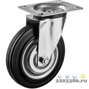Колесо поворотное d=160 мм, г/п 145 кг, резина/металл, игольчатый подшипник, ЗУБР Профессионал