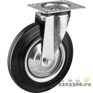 Колесо поворотное d=200 мм, г/п 185 кг, резина/металл, игольчатый подшипник, ЗУБР Профессионал