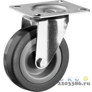 Колесо поворотное d=75 мм, г/п 50 кг, резина/полипропилен, ЗУБР