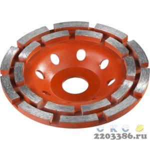"""Чашка алмазная шлифовальная по бетону ЗУБР """"МАСТЕР"""" сегментная двухрядная, 180мм"""