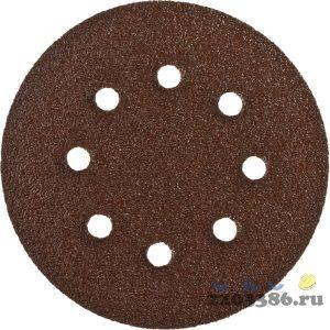 Круг шлифовальный из абразивной бумаги, ЗУБР Стандарт 35350-150-080, на велкро основе, 6 отв., Р80, 150мм, 5шт
