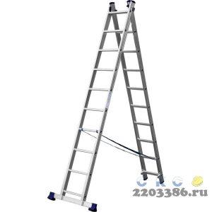 Лестница СИБИН универсальная, двухсекционная, 10 ступеней