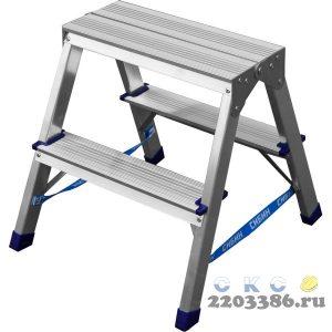 Лестница-стремянка двухсторонняя алюминиевая, СИБИН 38825-02, 2 ступени