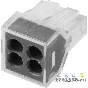 Клемма СВЕТОЗАР соединительная, 4-х проводная, 400В, 24А, 0,75-2,5мм2, 2шт