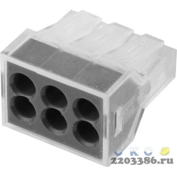 Клемма СВЕТОЗАР соединительная, 6-и проводная, 400В, 24А, 0,75-2,5мм2, 2шт