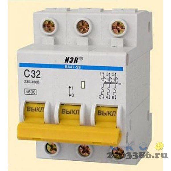 Выключатель автоматический 3п 63А С ВА47-100 10кА ИЭК MVA40-3-063-C