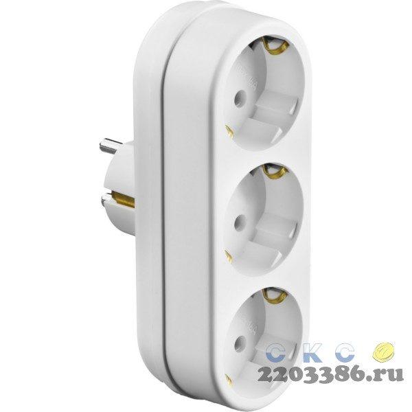 Разветвитель СИБИН электрический линейный с заземлением, 3 гнезда, 16А/220В