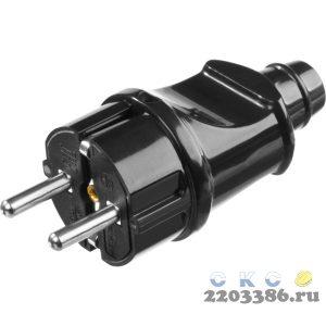 Вилка MAXElectro электрическая, 16А/220В, с заземлением, черная, STAYER