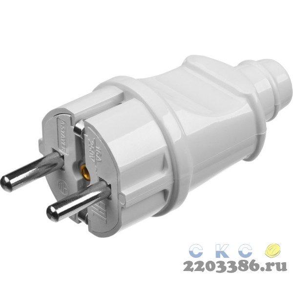 Вилка MAXElectro электрическая, 16А/220В, с заземлением, белая, STAYER