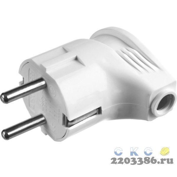 Вилка MAXElectro электрическая, 16А/220В, угловая, с заземлением, белая, STAYER