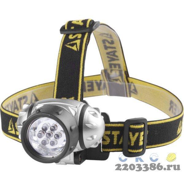 "Фонарь STAYER ""STANDARD"" TOPLight налобный светодиодный, 7LED, 3 режима, 3ААА"