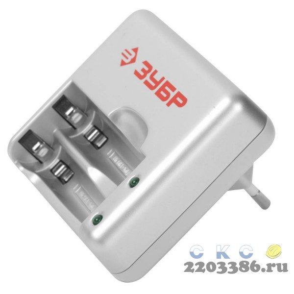 Зарядное устройство ЗУБР для никель-металлгидридных аккумуляторов, в блистере, время зарядки 1 час, 2хААА/АА