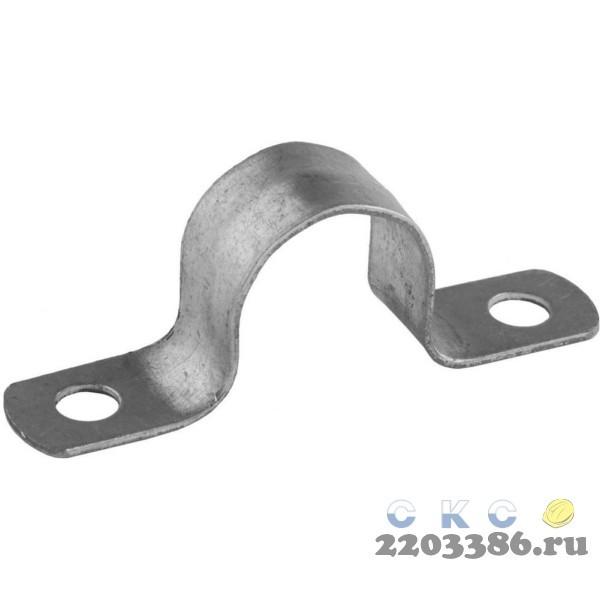 Скобы СВЕТОЗАР металлические D19мм, двухлапковые, для крепления металлорукава d=15мм, 100шт