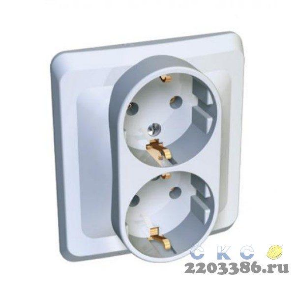 ЭТЮД Розетка х2 скр.с/з  (белый) PC16-008B 9723086