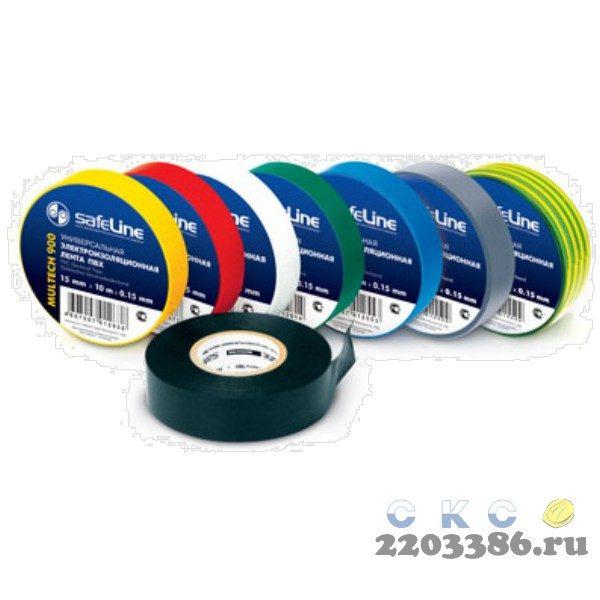 Изолента ПВХ желто-зеленая 19мм 20м Safeline