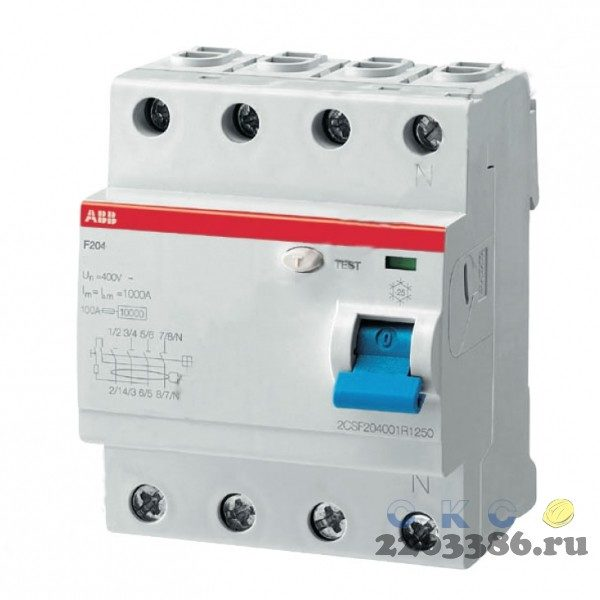 Выключатель дифференциального тока (УЗО) 4п 25А 30мА F204 АС (F204 AC-25/0,03)