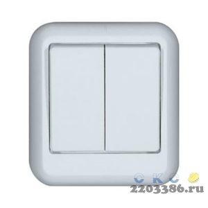 ПРИМА Выключатель двухклавишный наружный 250В 6А белый (А56-029) 73500002