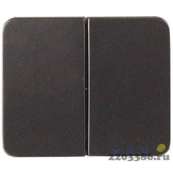 """Выключатель СВЕТОЗАР """"ГАММА"""" двухклавишный, без вставки и рамки, цвет темно-серый металлик, 10A/~250B"""